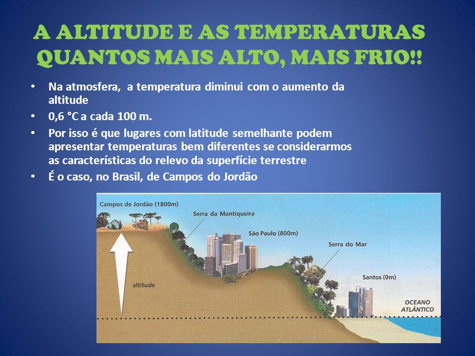 A ALTITUDE E AS TEMPERATURAS QUANTOS MAIS ALTO, MAIS FRIO!!