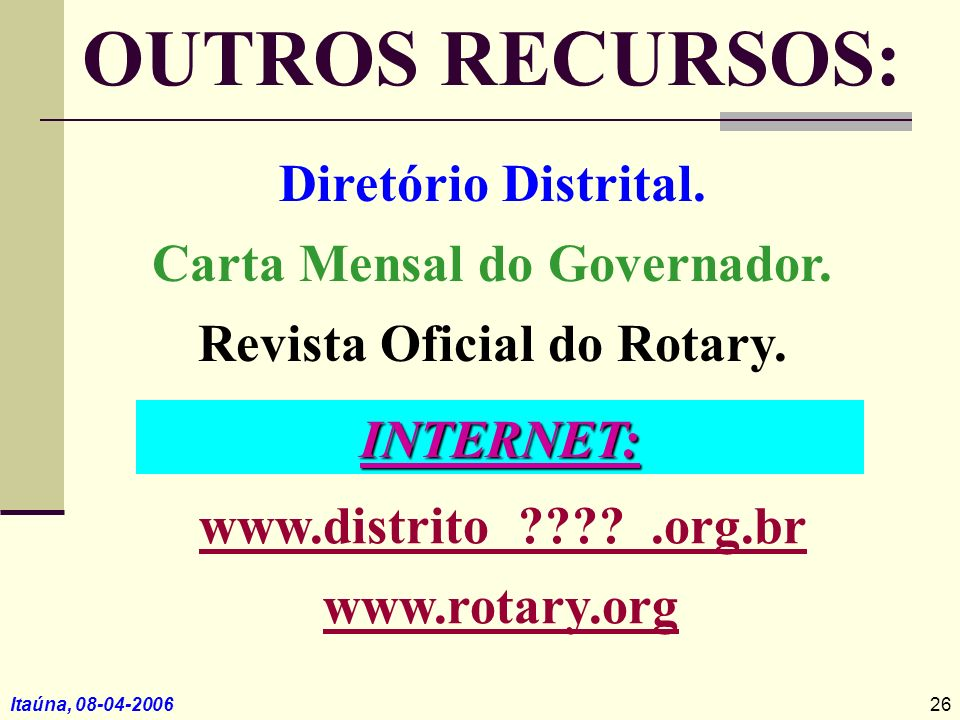 Carta Mensal do Governador. Revista Oficial do Rotary.