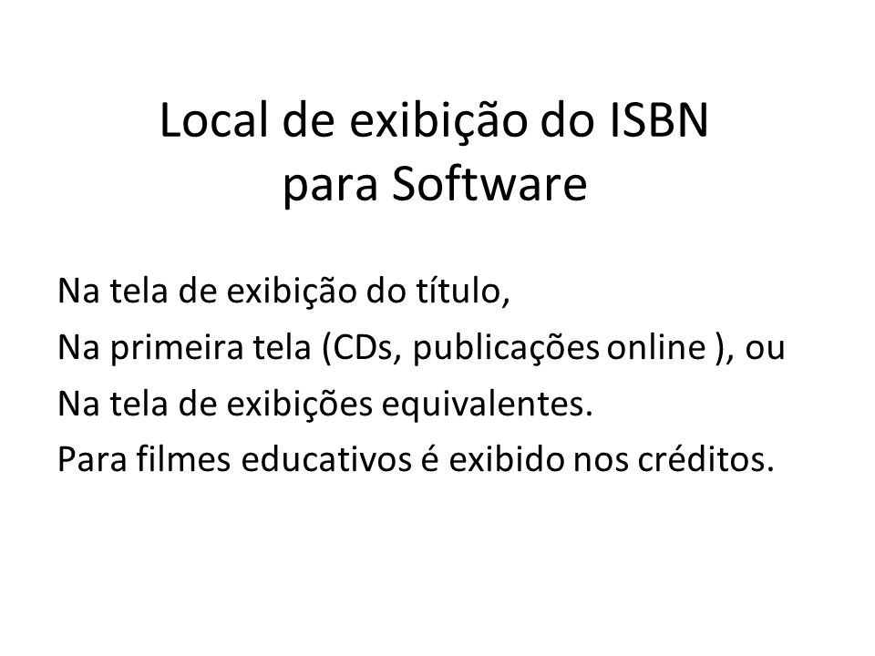 Local de exibição do ISBN para Software