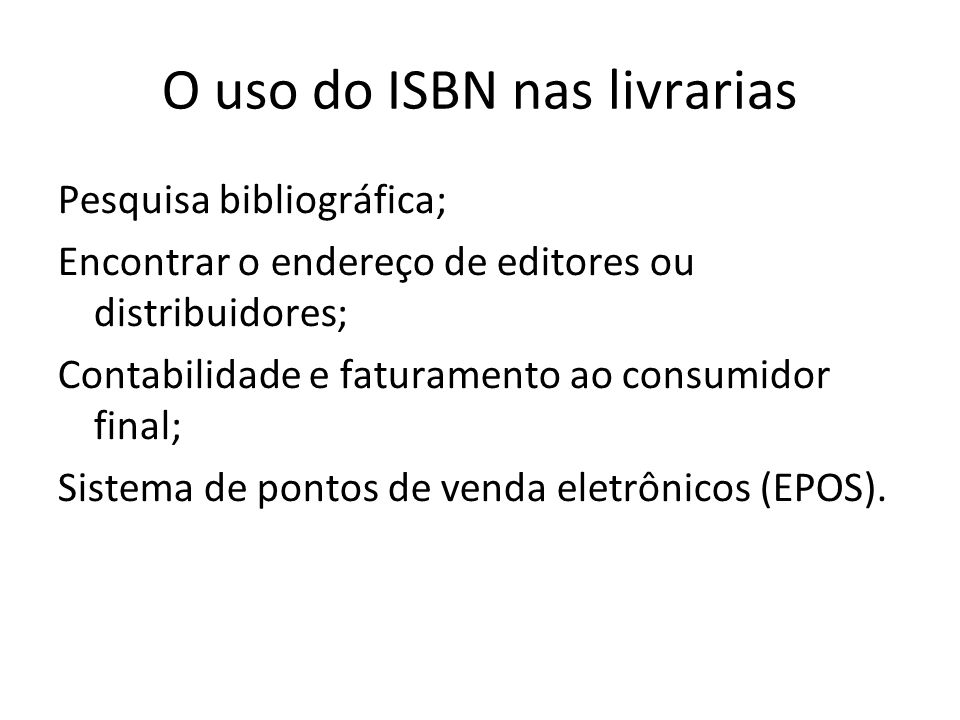O uso do ISBN nas livrarias