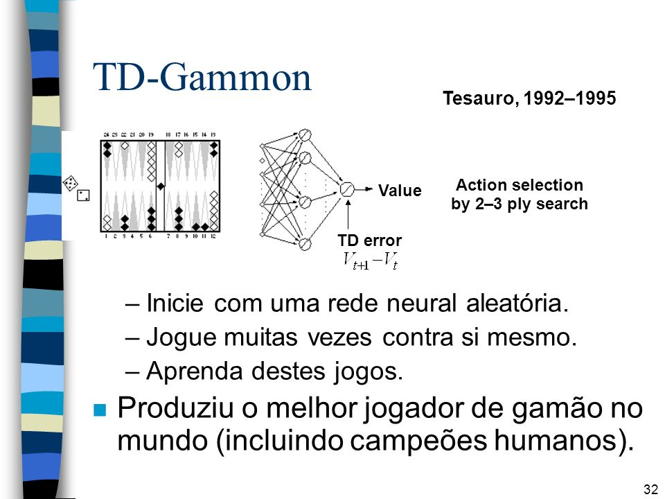 TD-Gammon Tesauro, 1992–1995. Action selection. by 2–3 ply search. Value. TD error. Inicie com uma rede neural aleatória.