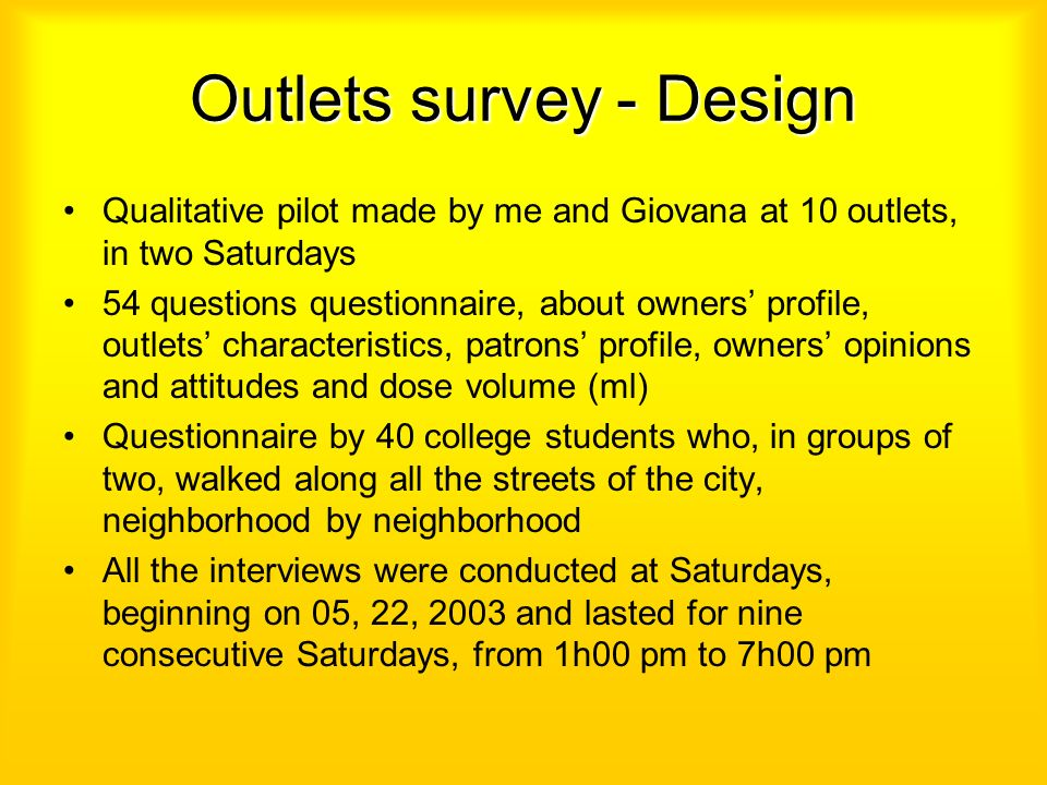 Outlets survey - Design