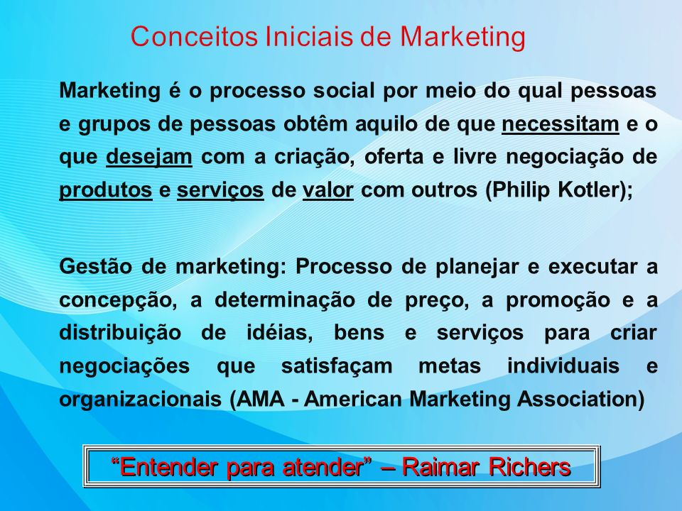 Conceitos Iniciais de Marketing