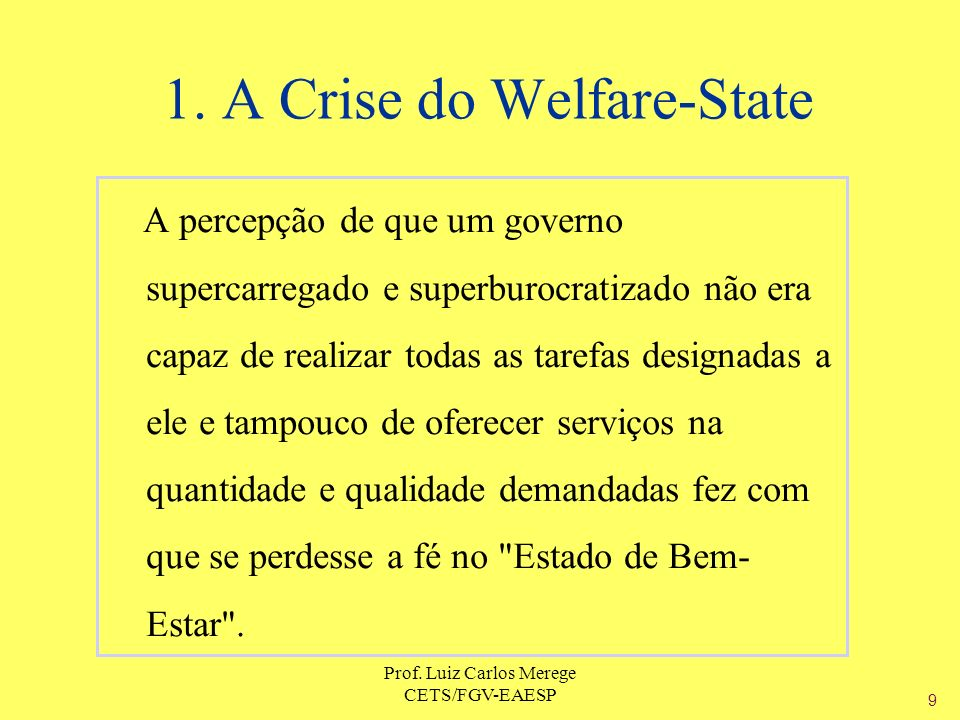 1. A Crise do Welfare-State