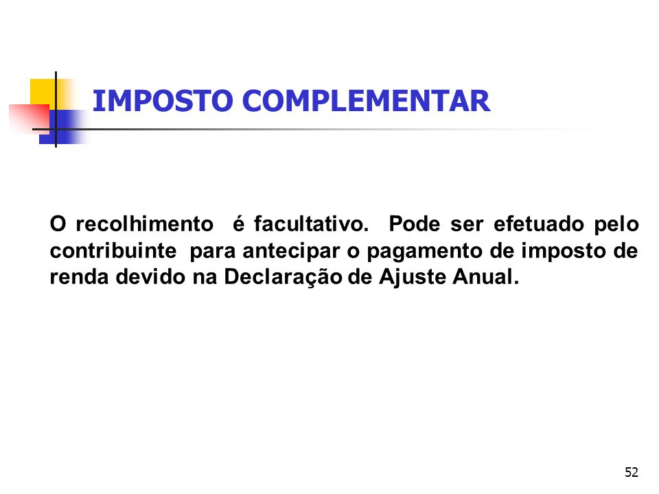 IMPOSTO COMPLEMENTAR