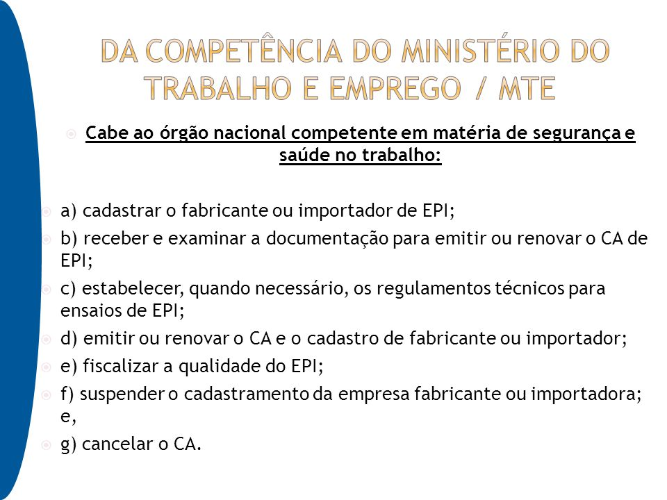 Da competência do Ministério do Trabalho e Emprego   MTE 5c2ba6fc1f