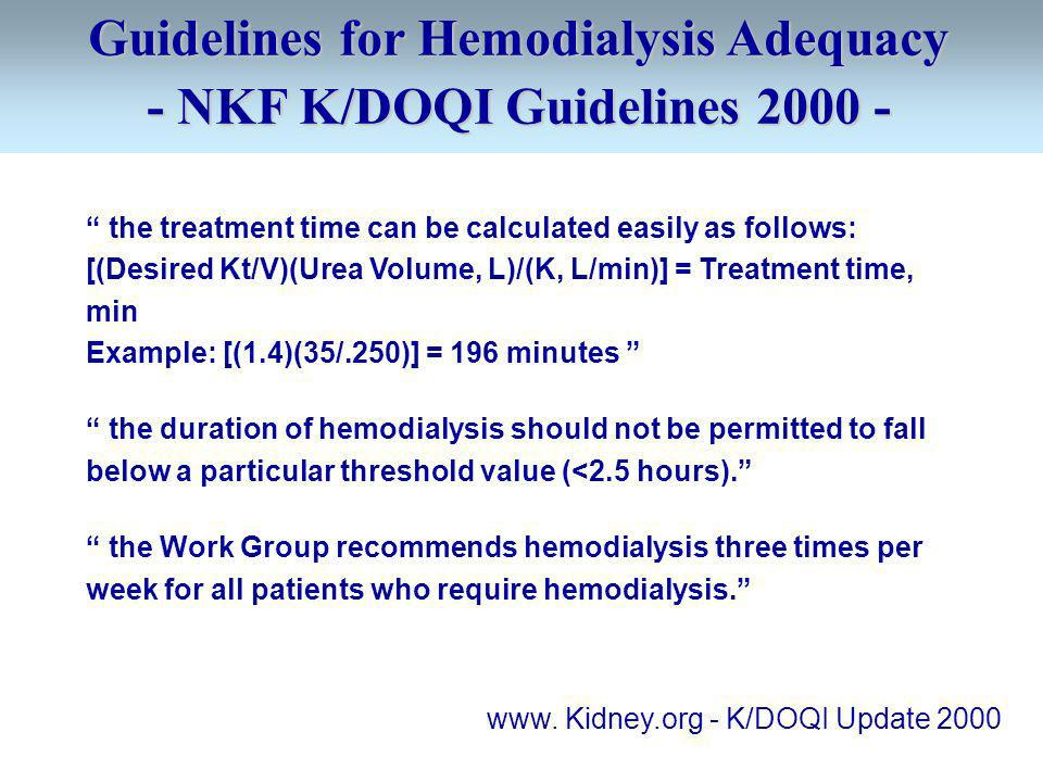 Guidelines for Hemodialysis Adequacy - NKF K/DOQI Guidelines
