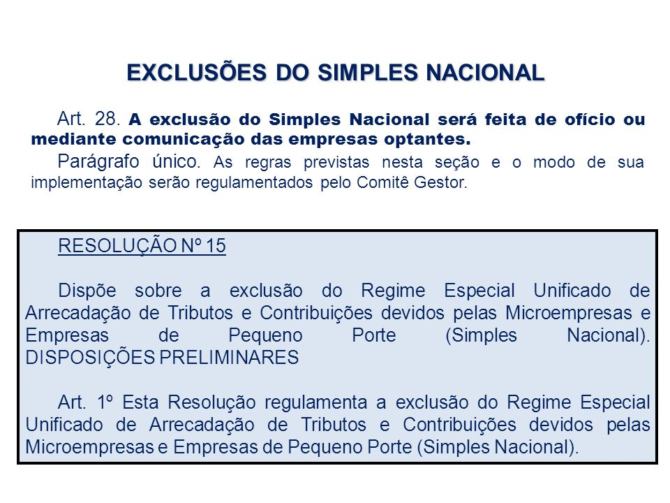 EXCLUSÕES DO SIMPLES NACIONAL