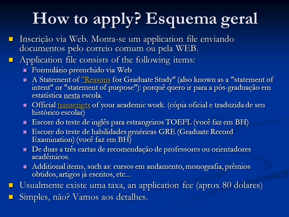 How to apply Esquema geral
