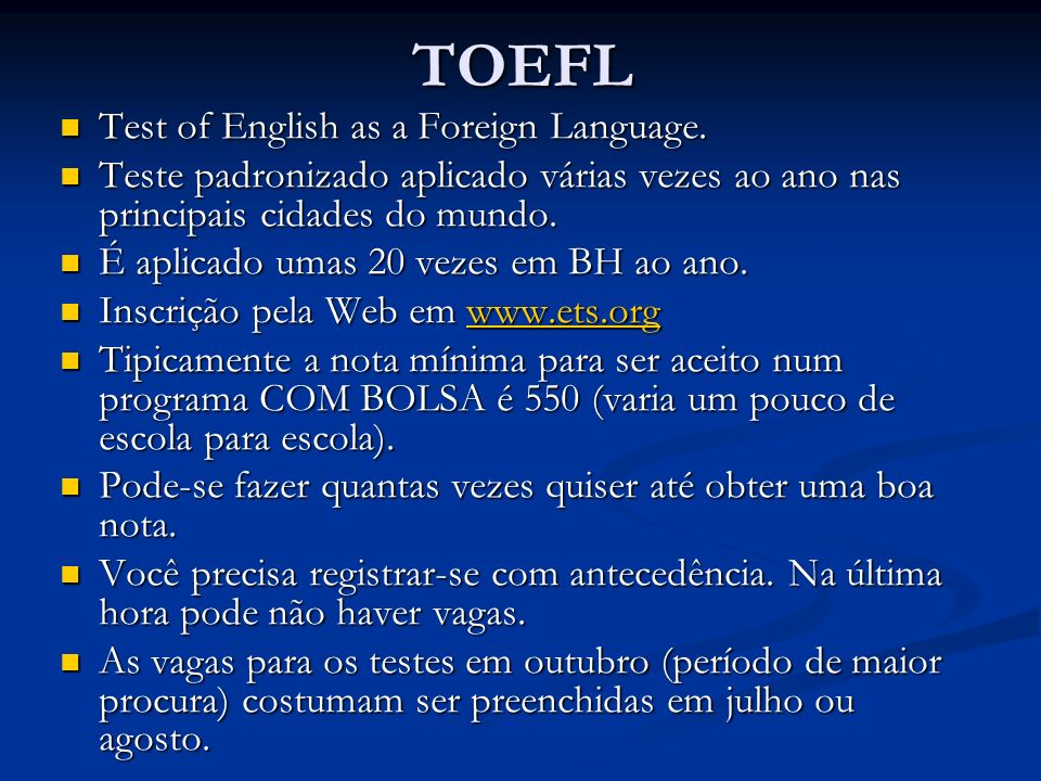 TOEFL Test of English as a Foreign Language.