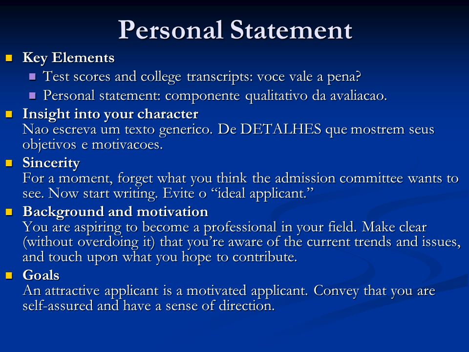 Personal Statement Key Elements