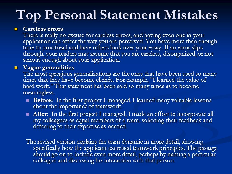 Top Personal Statement Mistakes