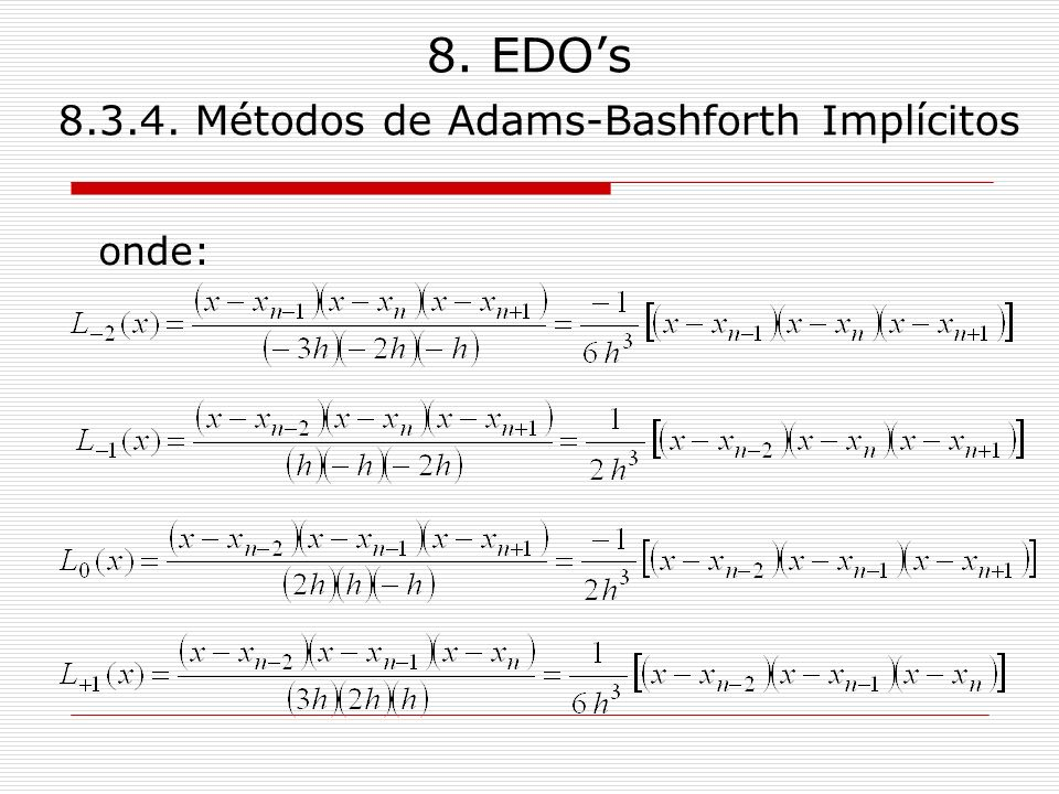 8. EDO's Métodos de Adams-Bashforth Implícitos