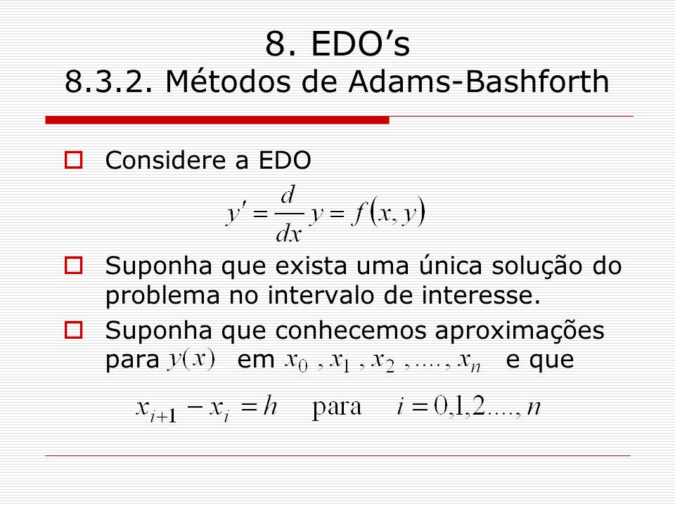 8. EDO's Métodos de Adams-Bashforth