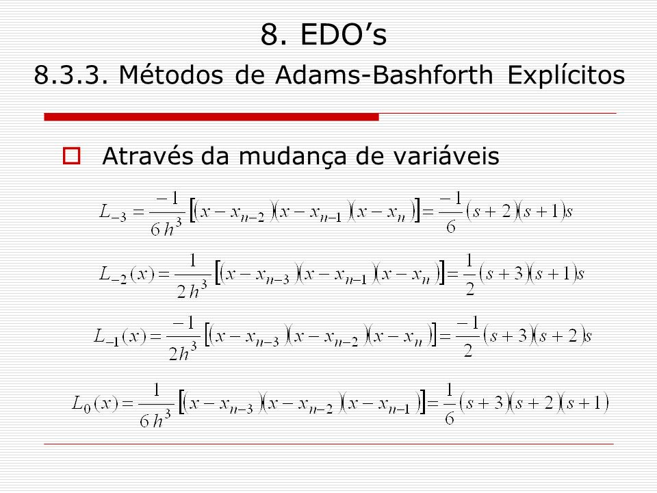 8. EDO's Métodos de Adams-Bashforth Explícitos