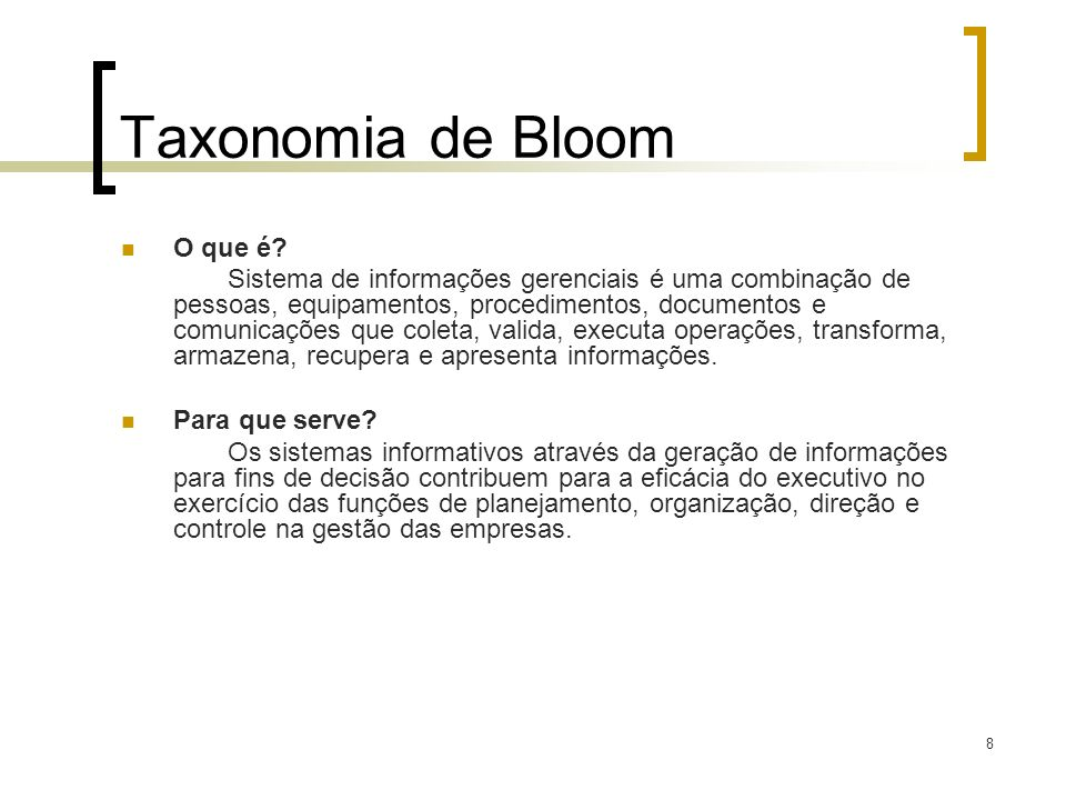 Taxonomia de Bloom O que é