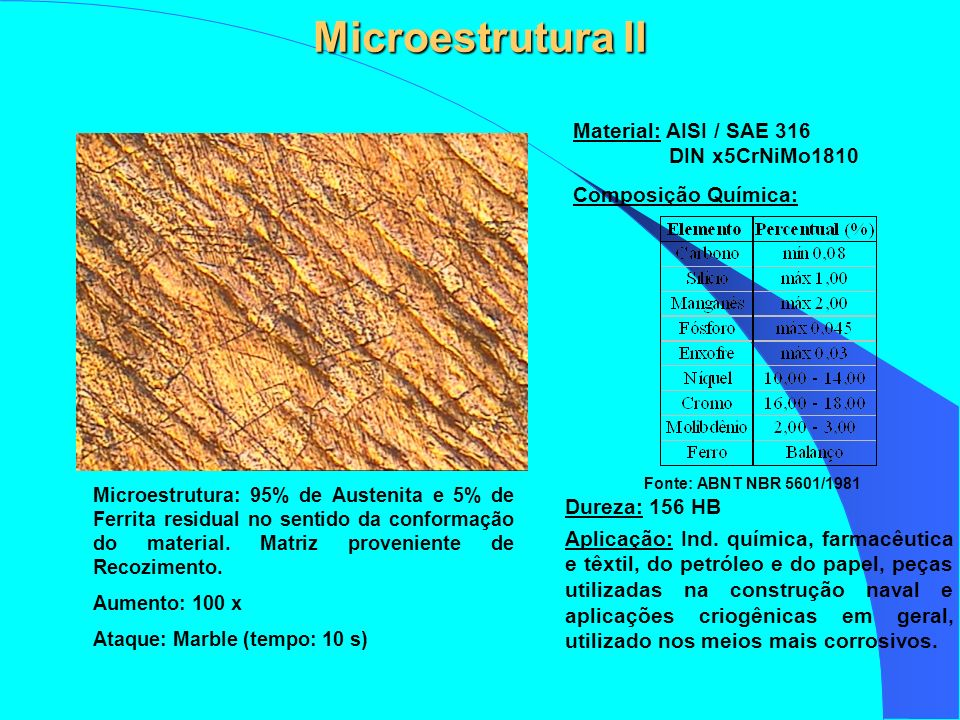 Microestrutura II Material: AISI / SAE 316 DIN x5CrNiMo1810
