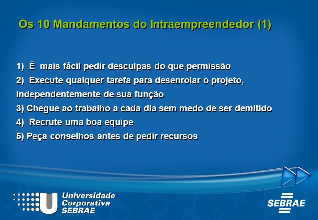 Os 10 Mandamentos do Intraempreendedor (1)