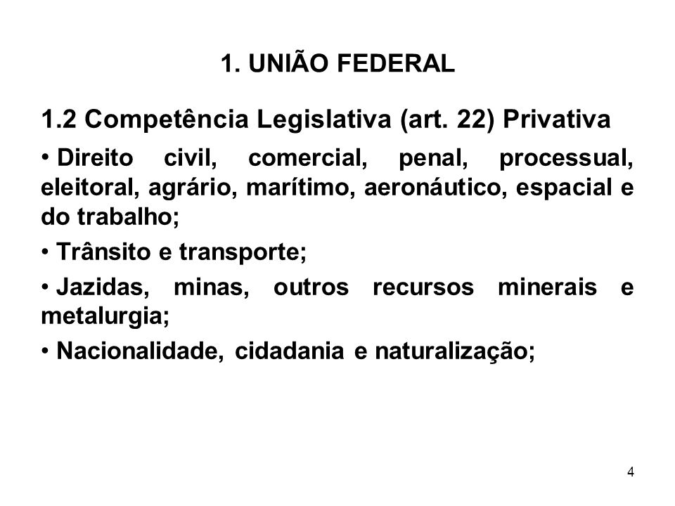 1.2 Competência Legislativa (art. 22) Privativa
