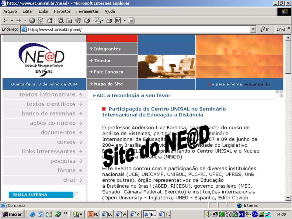 Site: ação interna Site do