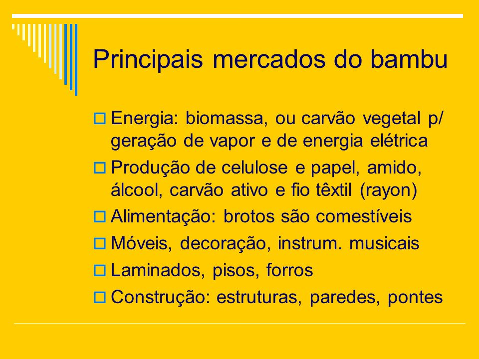 Principais mercados do bambu