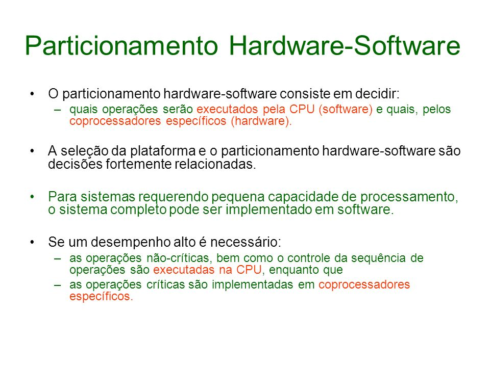 Particionamento Hardware-Software
