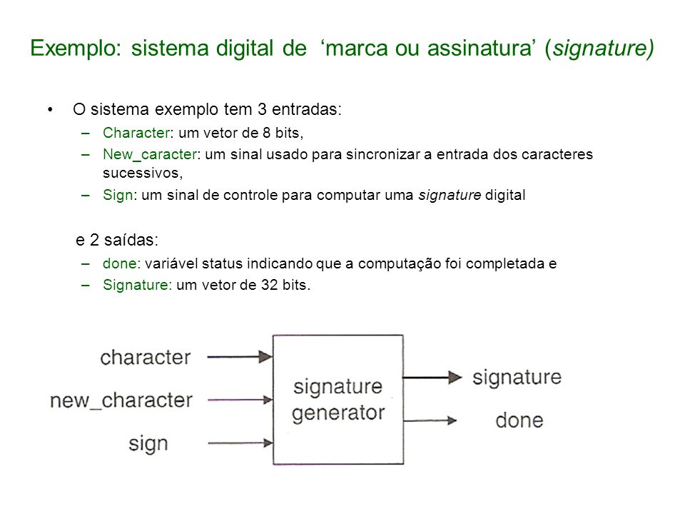 Exemplo: sistema digital de 'marca ou assinatura' (signature)