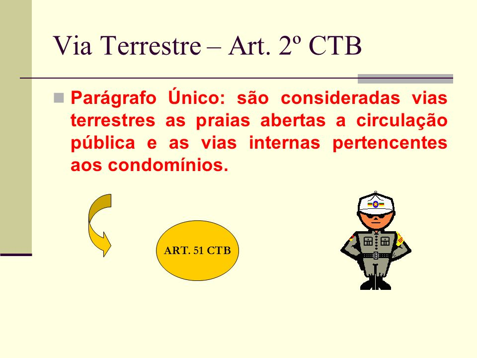 Via Terrestre – Art. 2º CTB