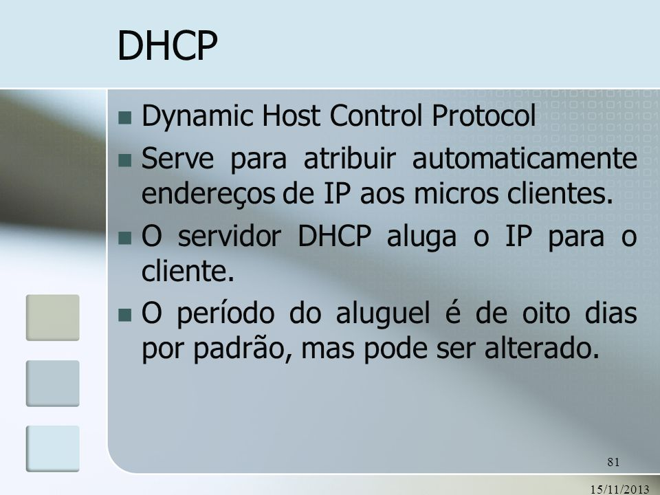 DHCP Dynamic Host Control Protocol