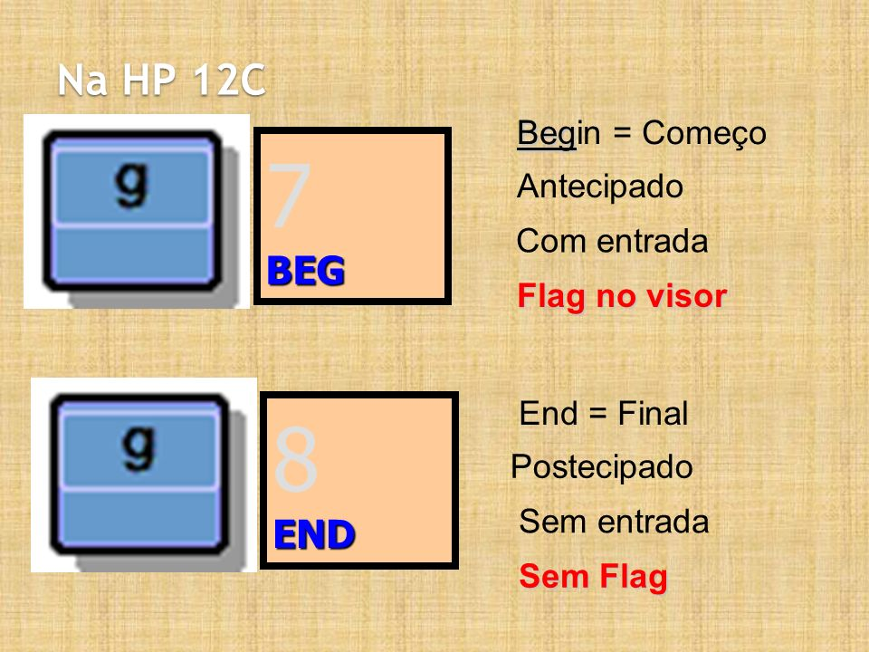 7 8 Na HP 12C BEG END Begin = Começo Antecipado Com entrada