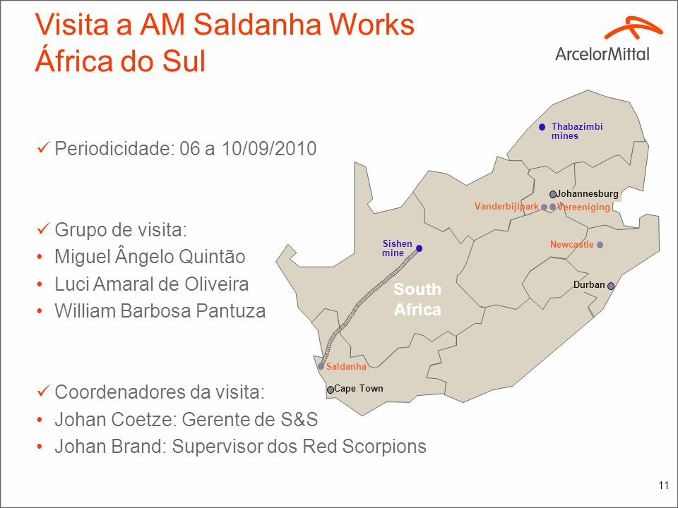 Visita a AM Saldanha Works África do Sul