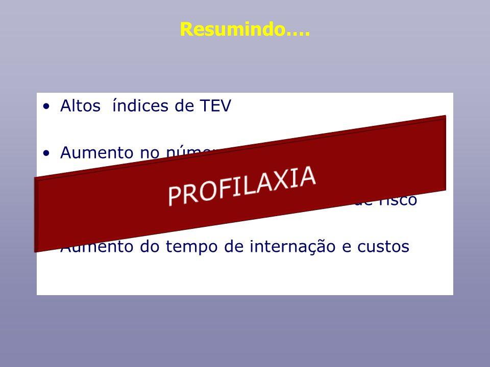 PROFILAXIA Resumindo…. Altos índices de TEV