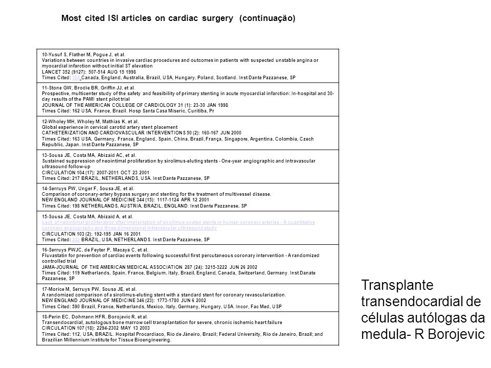 Most cited ISI articles on cardiac surgery (continuação)