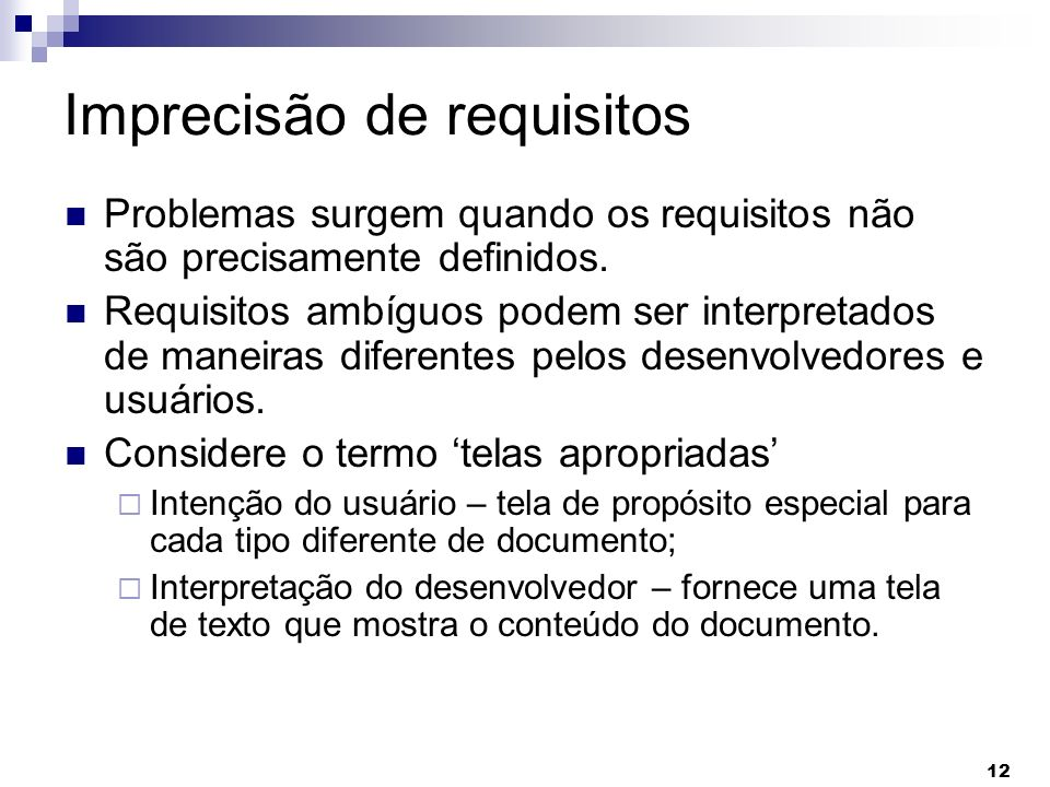 Imprecisão de requisitos