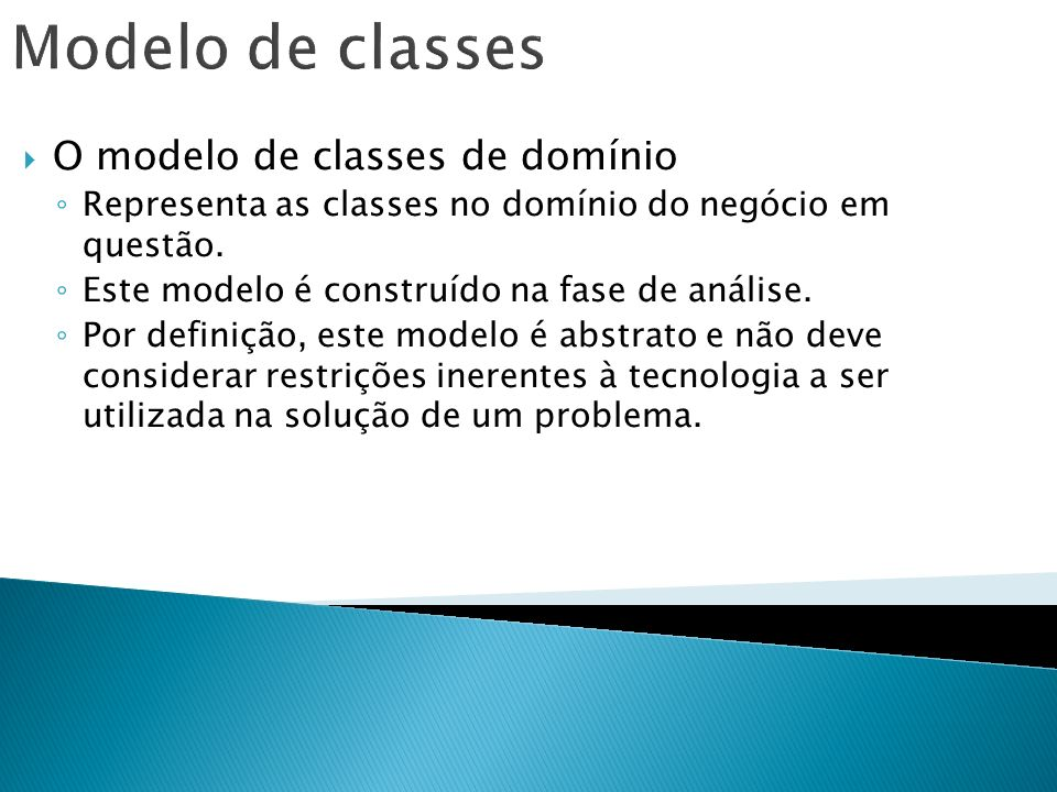 Modelo de classes O modelo de classes de domínio