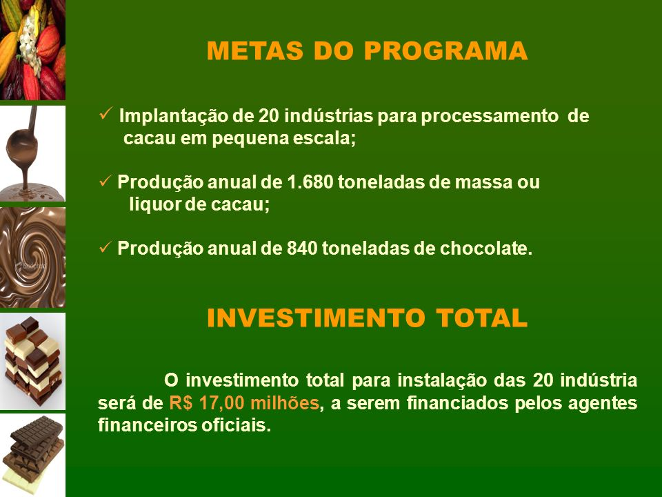METAS DO PROGRAMA INVESTIMENTO TOTAL