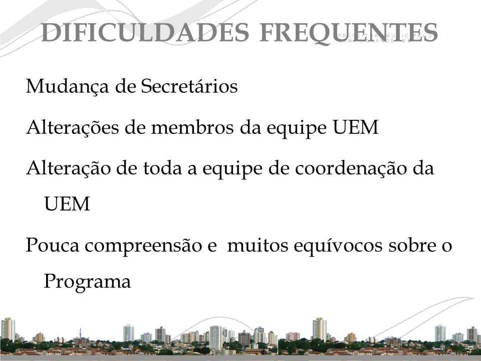 DIFICULDADES FREQUENTES
