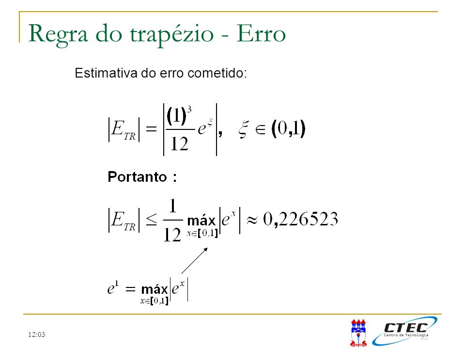 Regra do trapézio - Erro