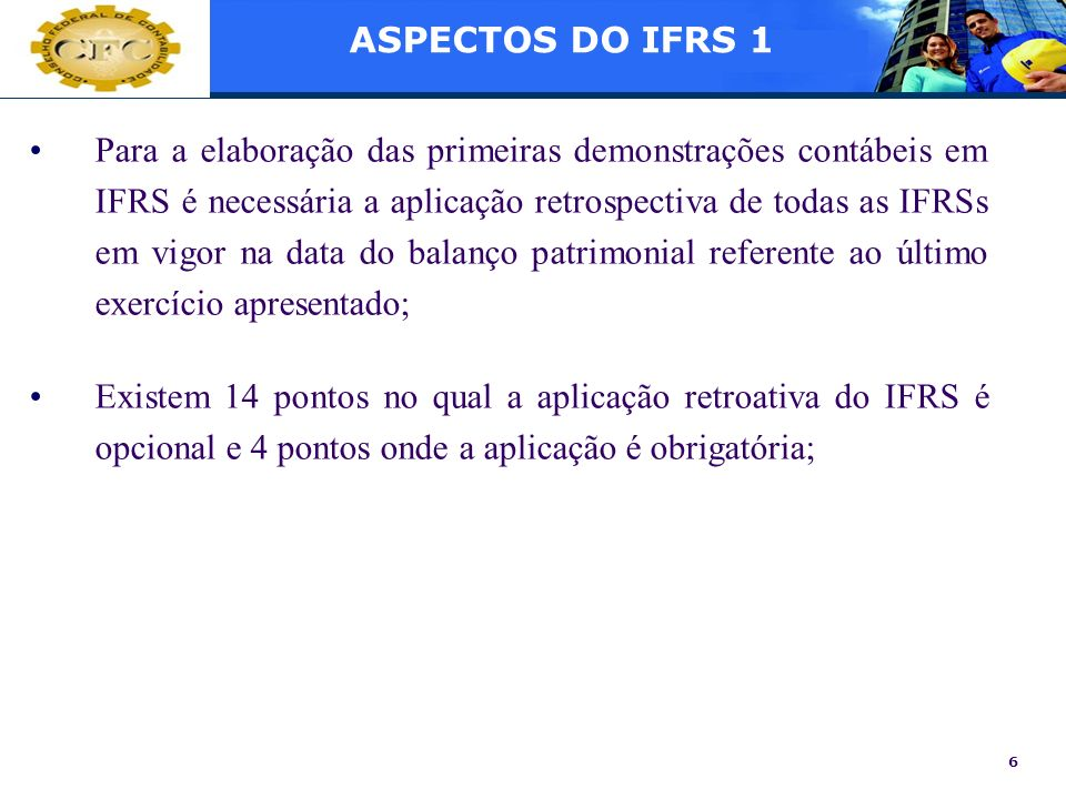 ASPECTOS DO IFRS 1