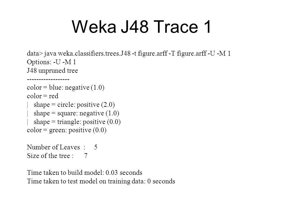 Weka J48 Trace 1 data> java weka.classifiers.trees.J48 -t figure.arff -T figure.arff -U -M 1. Options: -U -M 1.