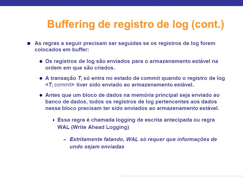 Buffering de registro de log (cont.)