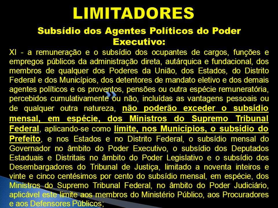 Subsídio dos Agentes Políticos do Poder Executivo: