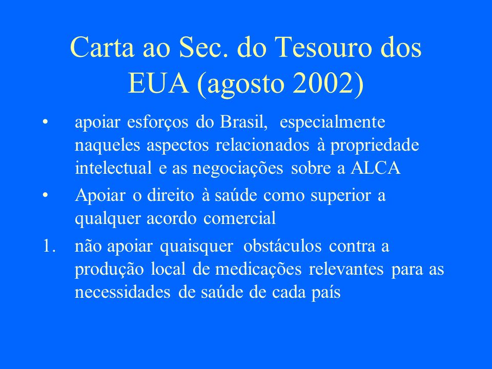 Carta ao Sec. do Tesouro dos EUA (agosto 2002)
