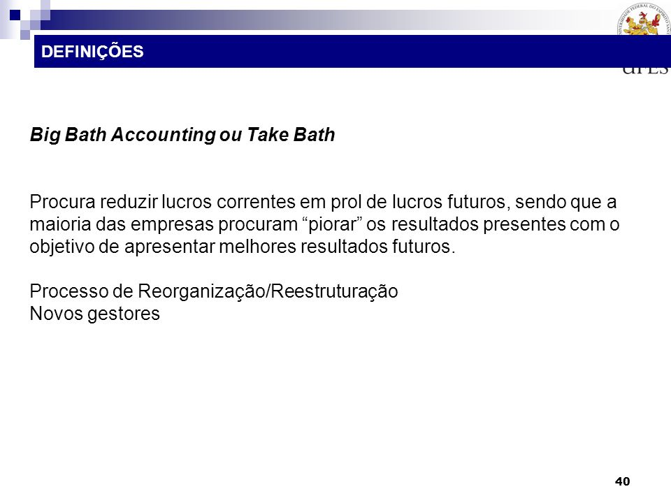 Big Bath Accounting ou Take Bath