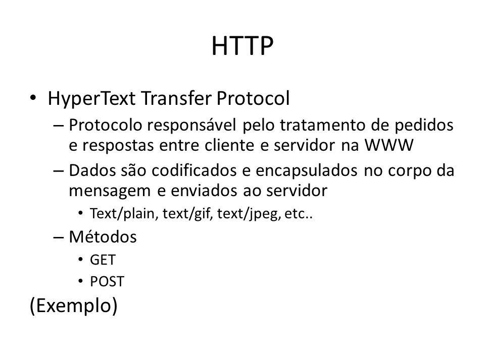 HTTP HyperText Transfer Protocol (Exemplo)