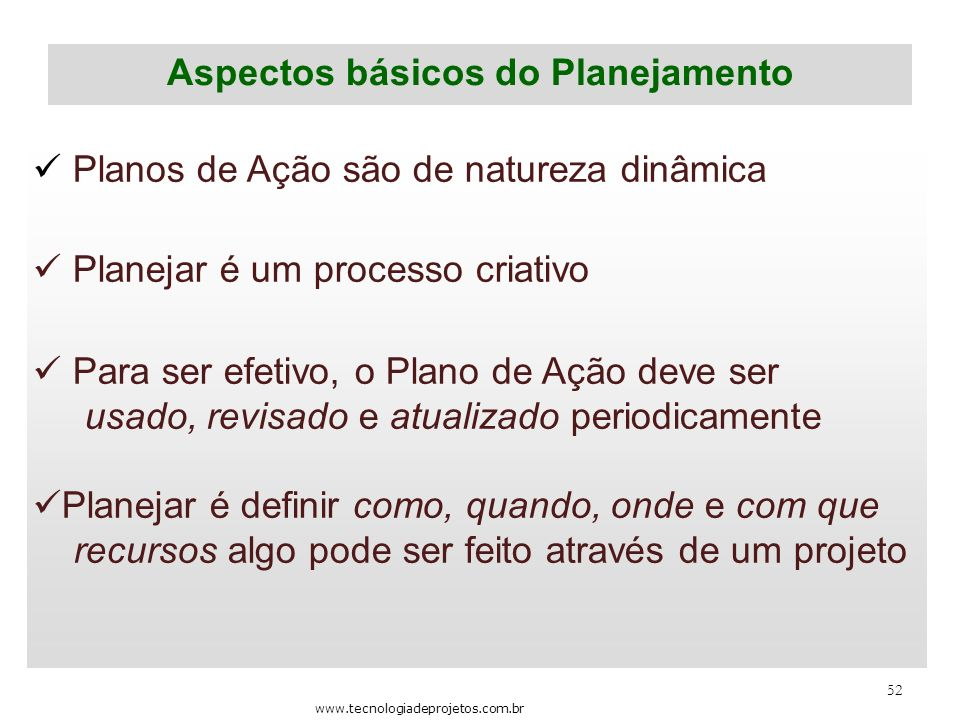 Aspectos básicos do Planejamento