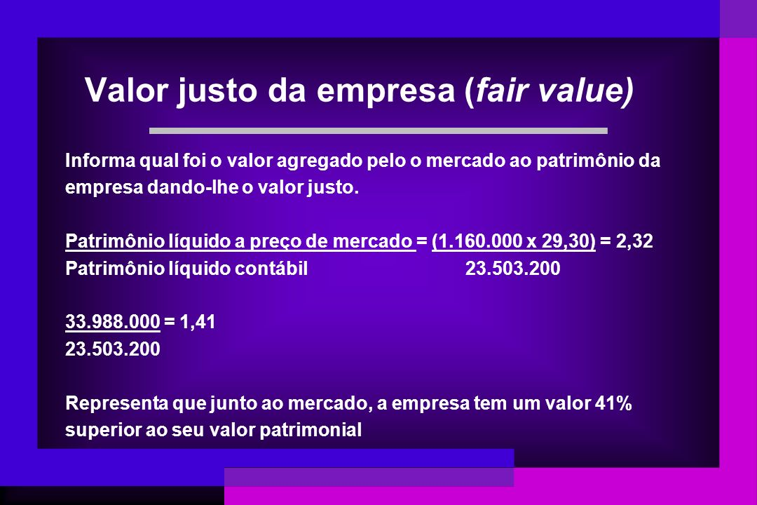 Valor justo da empresa (fair value)