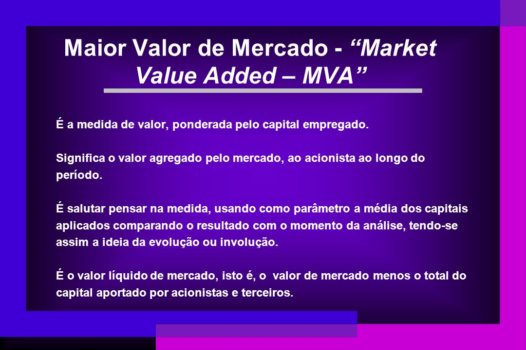Maior Valor de Mercado - Market Value Added – MVA