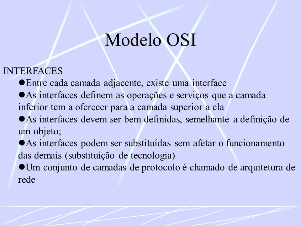 Modelo OSI INTERFACES. Entre cada camada adjacente, existe uma interface.