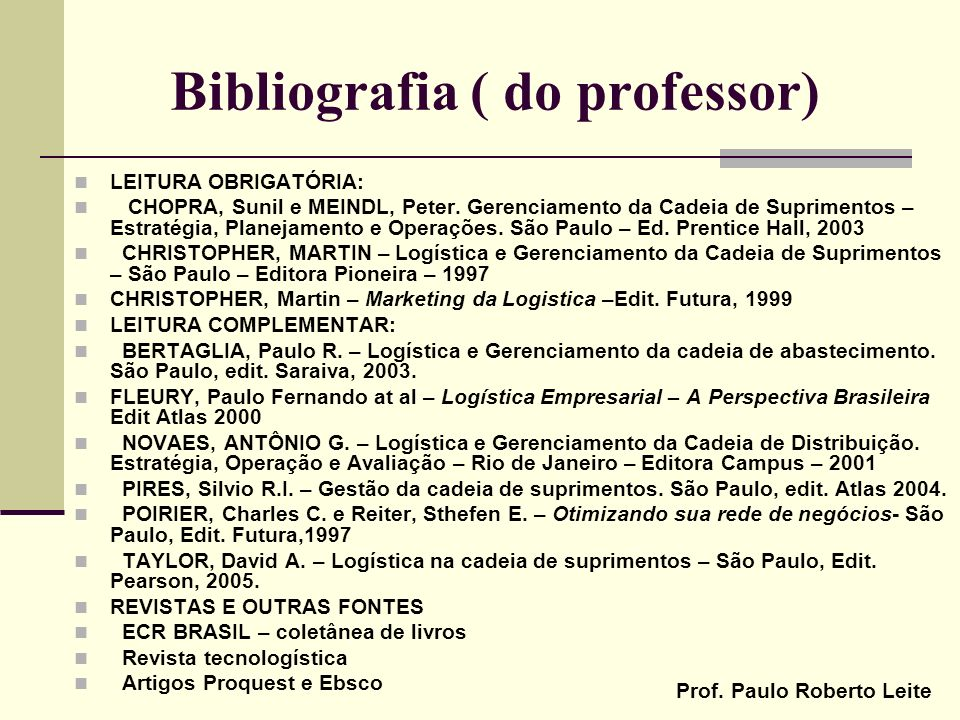 Bibliografia ( do professor)